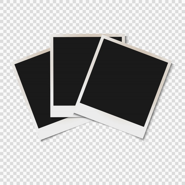Blank old photo frames isolated on transparent