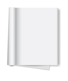 Blank open book isolated
