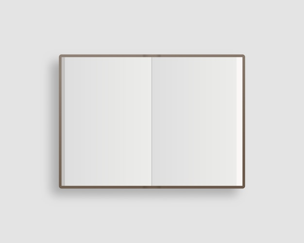 Blank open book, magazine and notebook mockup with soft shadow