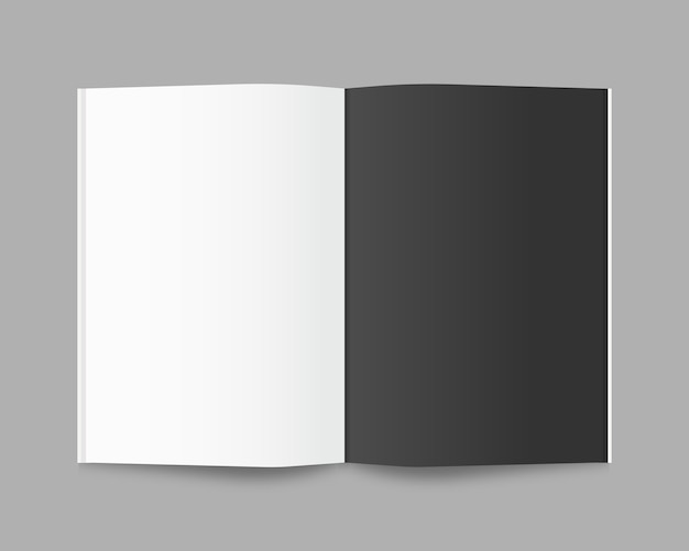 Blank open book, magazine and notebook with soft shadows. isolated. template design. realistic illustration.