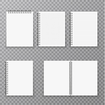 Blank open and closed realistic notebook collection, organizer and diary  template isolated. paper page organizer and notebook set .
