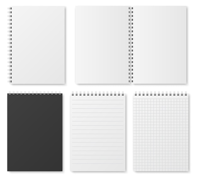 Blank open and closed realistic notebook, organizer and diary  template