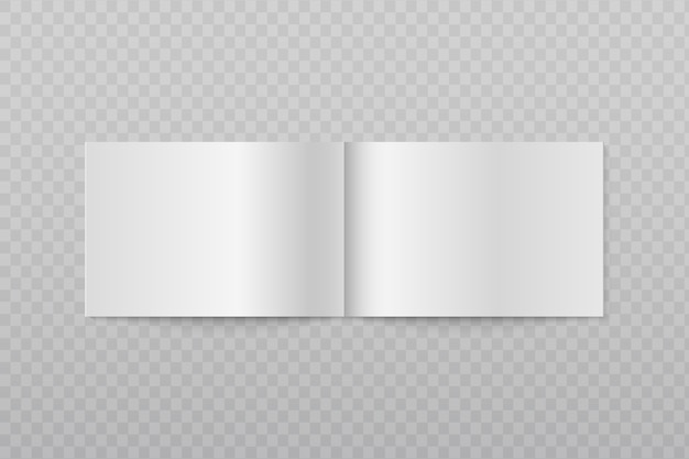 空白の開いた水平パンフレット。白い小冊子や雑誌のページを3d分離。ページシートの小冊子、リーフレットカタログ、メモ帳、ジャーナルのイラスト