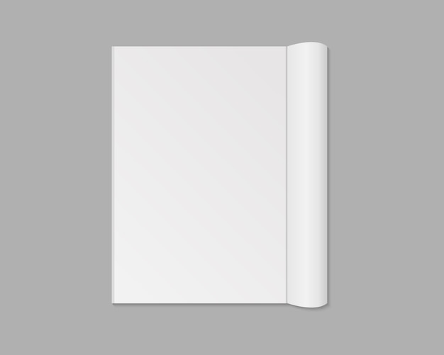 Blank open magazine, book, notebook, booklet, brochure or catalog. blank magazine page spread .   isolated. template .  illustration.