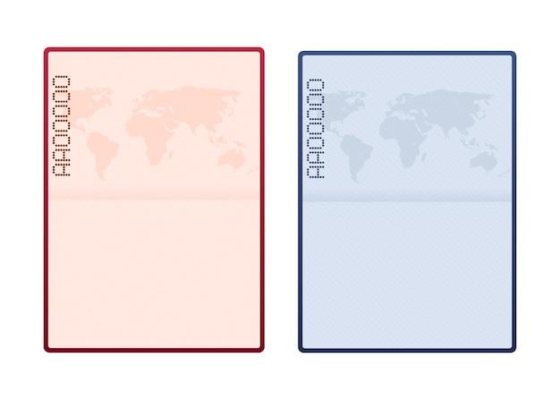 Пустой открытый шаблон паспорта. загранпаспорт с образцом страницы личных данных. векторная иллюстрация штока.