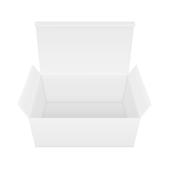 Blank open rectangular paper box.