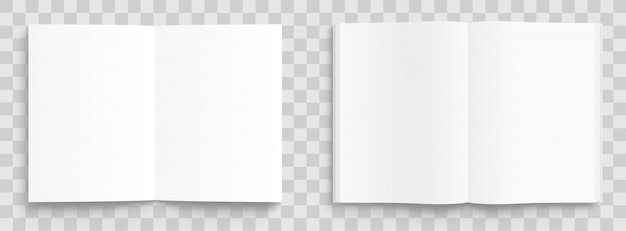 Blank opened book, magazine and notebook template with soft shadows on transparent background. front view.