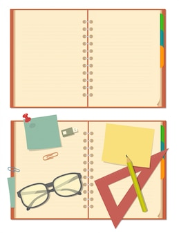 Blank opened notebook with glasses, pencil, paper, stationery.