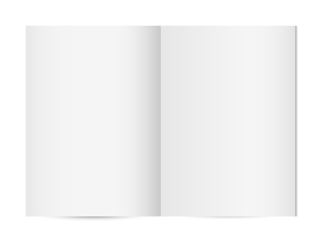 Blank opened vertical magazine template or notebook