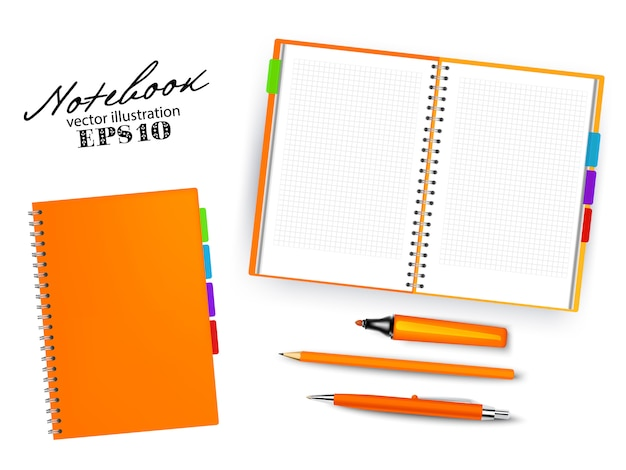 Blank orange open and closed copybook template with pen, pencil and permanent marker.set of   illustration stationary isolated