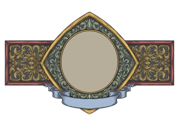 ヴィンテージ手描きスタイルの空白の装飾用フレーム