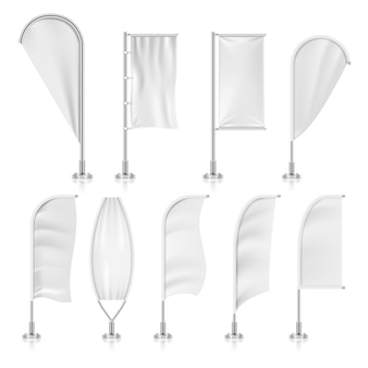 Blank outdoor white flags and advertising beach marketing banners set.