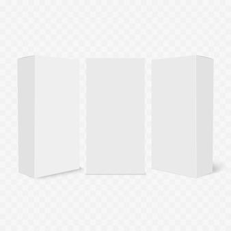 투명 배경에 빈 패키지 상자 세트입니다.