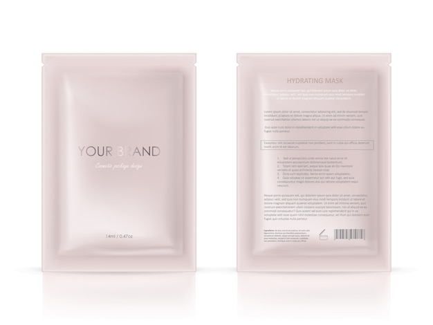 Blank package, disposable foil sachet for facial mask or shampoo