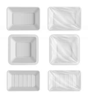 Blank packaging template white food container