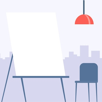 Blank painting canvas drawing with cityscape background and empty chair empty portrait artwork