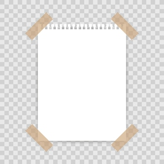 Blank paper background fixed with sticky tape to square background