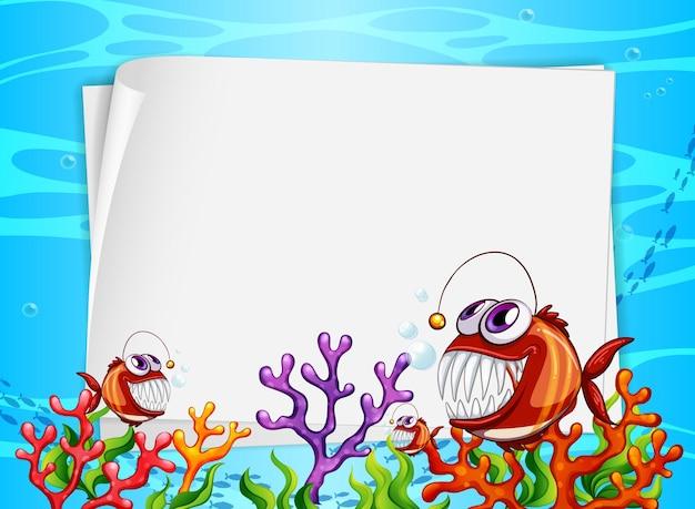 수중 배경에 이국적인 물고기와 해저 자연 요소와 빈 종이 배너