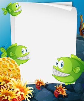 Blank paper banner with exotic fish and undersea nature elements on the underwater background