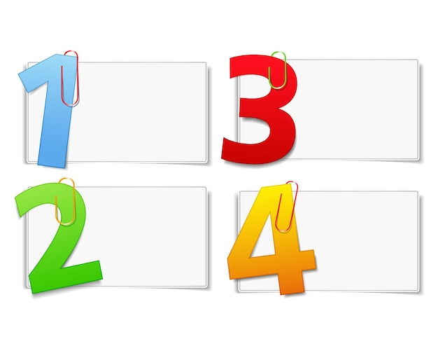 Blank paper cards with numbers,  illustration