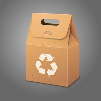リサイクルサイン付きのデザインとブランディングのためのハンドルと場所が付いた白紙のクラフトパッケージバッグ。