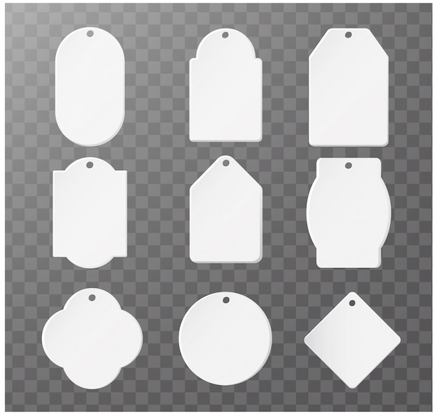 Blank paper label or tag isolated set collection
