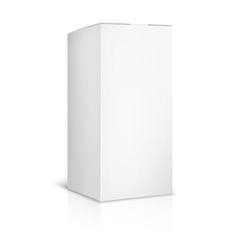 白地に白紙または段ボール箱のテンプレート。コンテナとパッケージ。ベクトルイラスト