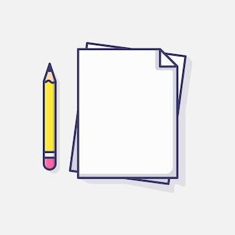 Blank paper and pencil vector icon illustration, documen data agreement white icon vector idea graphic