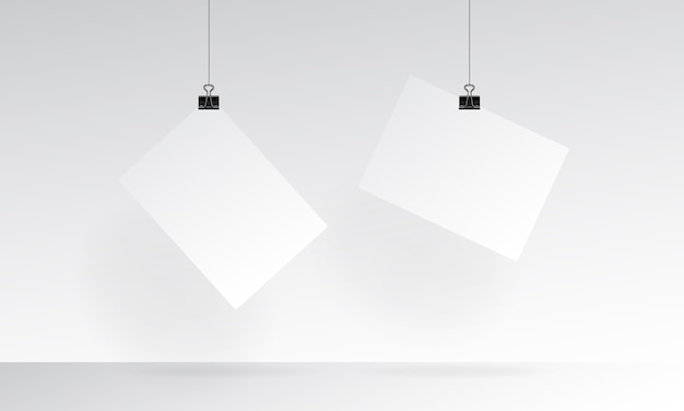 Blank paper realistic mock up with hanging