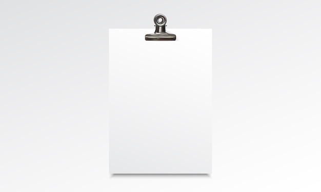 Blank paper realistic mockup with binder clip