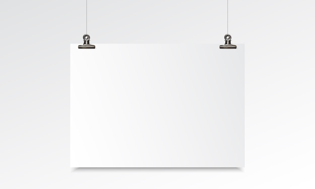 Blank paper realistic mockup with hanging and binder clip