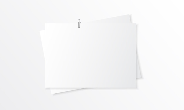 Blank paper realistic mockup with paper clip