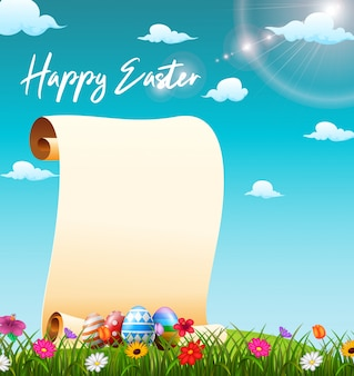 Blank paper scroll in the grass field with decorated easter eggs