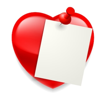 Blank paper sheet pinned on red shiny heart
