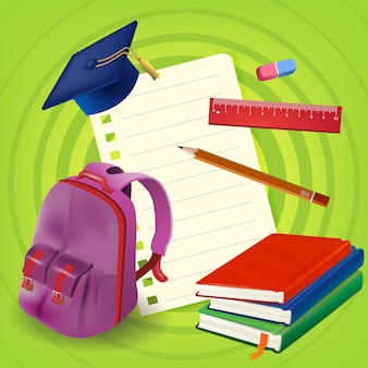 Blank paper sheet with backpack and books on green background
