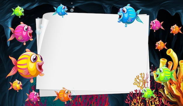 Blank paper sheet with exotic fishes cartoon character in the underwater scene