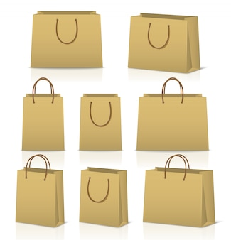 Blank paper shopping bags set isolated on white with reflection