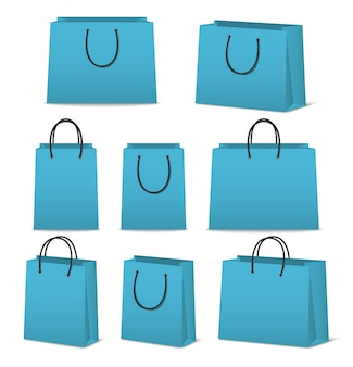 Blank paper shopping bags set isolated on white