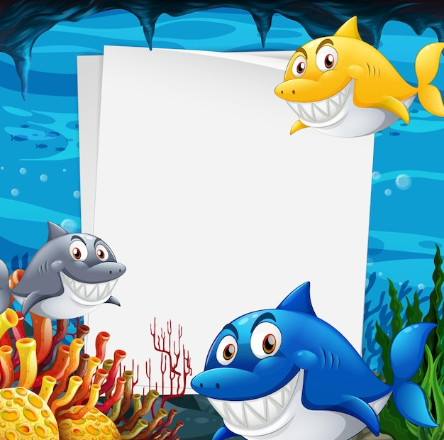 Blank paper template with many sharks cartoon character in the underwater scene