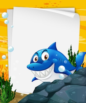Blank paper template with a shark cartoon character in the underwater scene