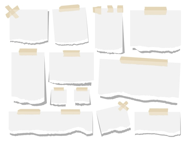 Blank paper torn page notes. office notepaper sheets isolated on white background. collection of template paper sticker.  illustration