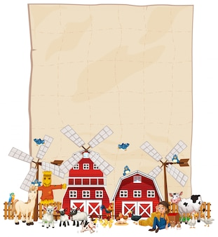 Blank paper with barn and windmill and animal farm set