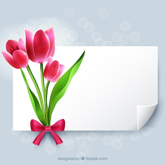 Blank paper with flowers