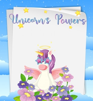 Blank paper with unicorns powers logo on top with cute unicorn and flowers