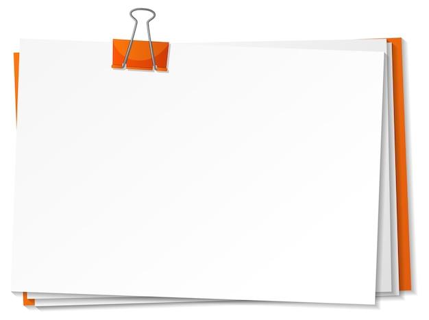 白紙とバインダークリップテンプレート