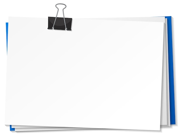 Blank papers and binder clip template