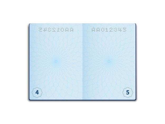 空白のパスポート。開いたドキュメントのレイアウト、透かし付きのページシート。空の外国のパスポートページ、身分証明書、ベクトルの詳細な現実的なテンプレート
