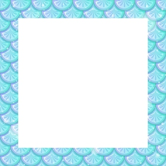 Blank pastel blue fish scales frame template