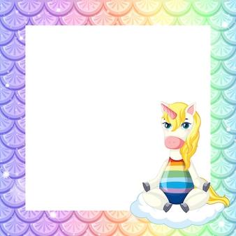 Modello di cornice di squame di pesce arcobaleno pastello bianco con personaggio dei cartoni animati di unicorno carino