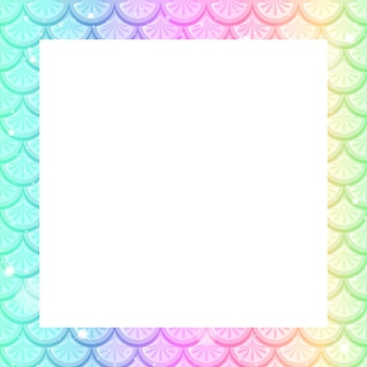 Blank pastel rainbow fish scales frame template